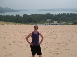 Climbing to the top of a sand dune - very rewarding!