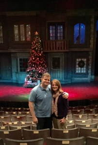 The set of A Christmas Carol behind us.